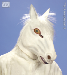 Overhead Rubber White Horse Mask